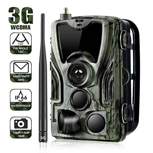 Trampa fotográfica con cámara salvaje 3G 1080P 16MP con cámara de caza IP65 impermeable 36 LED infrarrojos de bajo brillo 940nm, visión nocturna por infrarrojos de hasta 20 m, tiempo de activación 0.3