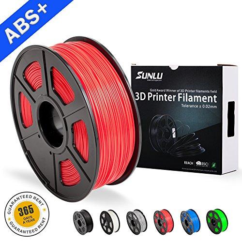 Filamentos de ABS para Impresora 3D-SUNLU Filamento de ABS rojo 1.75 mm, Precisión dimensional de olor bajo +/- 0.02 mm Filamento de impresión 3D, 2.2 LBS (1KG) Filamento de impresora 3D Spool para la mayoría de las impresoras 3D y bolígrafos 3D, Rojo