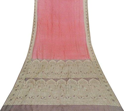 Indian Weinlese 100% Seide Rosa Saree Floral Woven Sari Ethnische Handwerk Stoff Gebraucht (Seide Sari Rosa)