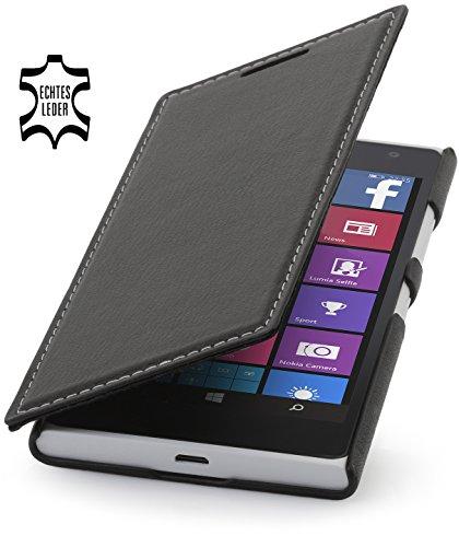 StilGut Book Type Case, Hülle aus Leder für Nokia Lumia 730 und Lumia 735, schwarz nappa