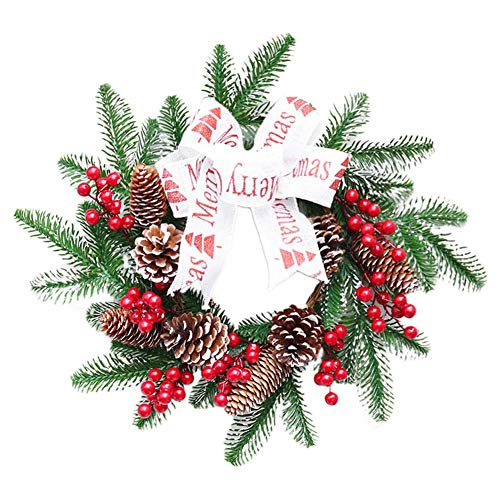 hinffinity Künstliche Girlande Ornament Weihnachtskranz Geschenke Tür hängend Kranz Weihnachtsdeko Türkranz für Weihnachten, Party, Einkauf, Einkaufszentrum, Fenster, 40 cm