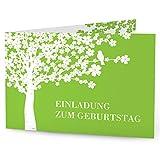 greetinks 60 x Personalisierte Einladungskarten zum Geburtstag (1-99 Jahre) 'Lebensbaum' in Grün | Geburtstagskarten zum selbst gestalten | 60er Set Geburtstagseinladungen für JEDES Alter