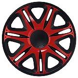 CM DESIGN 13 Zoll NASCAR RED (Rot/Schwarz), passend für Fast alle Opel z.B. für Corsa C