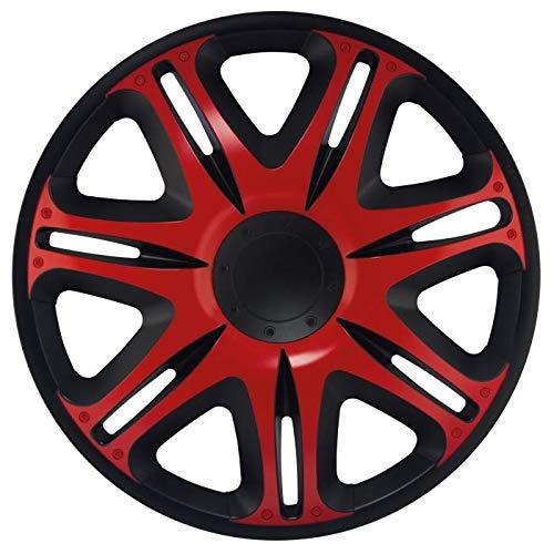 fiat grande punto radkappen CM DESIGN 13 Zoll NASCAR RED (Rot/Schwarz), passend für Fast alle FIAT z.B. für FIAT Grande Punto EVO Typ 199