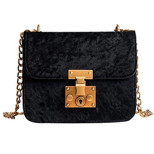Handtasche , Frashing Frauen Retro Gold Samt Tasche Schultertasche Messenger Bags Tote Handtasche (Schwarz) (Bag Messenger Kurze Tote)