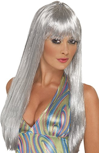 Silver Glitter 70s Disco Wig for Ladies.