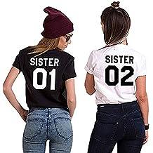 Minetom Camiseta Casual de Sister T-Shirt de Manga Corta Top Estampado para Friends Mujer