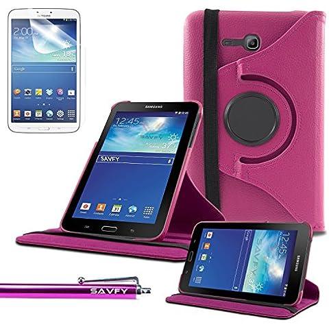 Funda Galaxy Tab 3 Lite 7.0 , SAVFY® - Giratoria 360 grados Stand PU Funda Flip Set para Samsung Galaxy Tab 3 Lite 7.0 SM-T110 + Paño de Limpieza + Protector de la Pantalla + Lápiz Optico (Rosado)