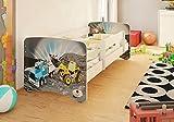 BEST FOR KIDS KINDERBETT MIT RAUSFALLSCHUTZ UND MIT 10 CM MATRATZE TÜV ZERTIFIZIERT SUPER AUSWAHL 5 GRÖßEN VIELE DESIGNS (70x160, Baufahrzeuge)