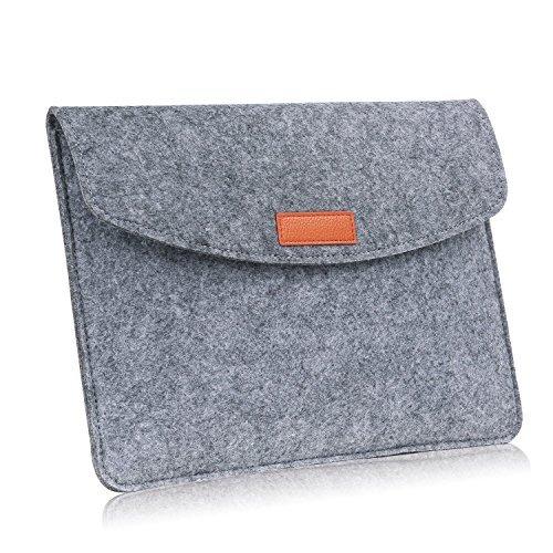 MoKo Universal 9-10 Zoll Felt Sleeve Hülle - Tragbare Filz Schutzhülle Tasche für Apple iPad 1 / 2 / 3 / 4, iPad Air /Air 2, iPad 9.7 2017 / 2018, Samsung Galaxy Tab E 9.6, Tab S2 9.7, Pro 10.1, Dunkelgrau
