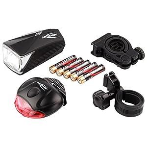 ANSMANN LiteRider StVZO Fahrradlicht LED Žibintaisset mit Frontlicht & Rücklicht - Fahrradlampe batteriebetrieben - zugelassen & abnehmbar - Žibintai für Fahrrad, Mountainbike, eBike, Rennrad