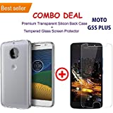 MOTOROLA G5S PLUS / G5S + Transparent Silicone TPU Shock Proof Ultra Slim Back Cover Case + Premium Tempered Glass Screen Protector