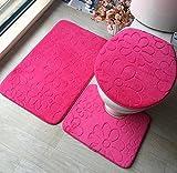 3Pcs / Pack Weiche Koralle Vlies Badematte Sockel Matte Toilette Waschbare Boden Teppiche Teppich Set Home Bad Tür Fußboden Mat Pad , Pink