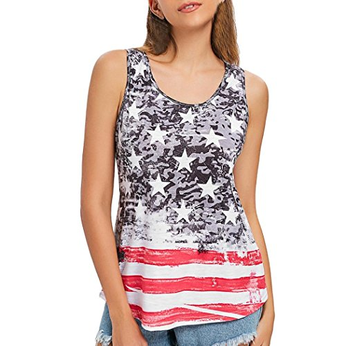 Gaddrt Fashion Women Casual American Flag Print O-Neck Tank Top Sleeveless Shirt Blouse