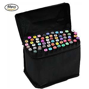 Markers Pen[60PCS],Beetest® - Marker Colori Pennarelli di Doppia Punta (1mm/6mm),Alcol Inchiostro a Base Penna Pennarello Punto Impostato con Custodia Nera,per Disegnare e Scarabocchiare (Guscio Nero)