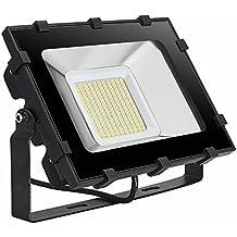 Viugreum 100W Focos LED Exterior Proyector Impermeable IP65 Iluminación de Exterior para Patios, Caminos, Escaleras, Jardines, Fábricas, Muelles, Estadios - Blanco Cálido