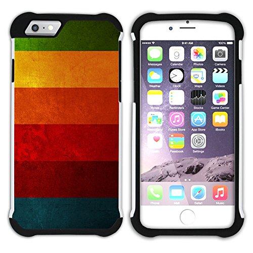 Graphic4You Regenbogen Farben Hart + Weiche Kratzfeste Hülle Case Schale Tasche Schutzhülle für Apple iPhone 6 / 6S Design #20