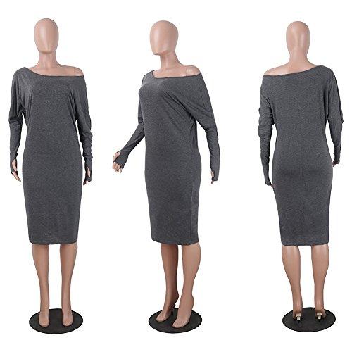 Donna Vestiti Puro Colore Manica Lunga Abito Maglietta Abiti Vestitini Vestito Lungo Aderente Grigio