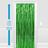 #8: PARTY PROPZ ™ Set of 2 Metallic Green Foil Curtain Fringe Party Decoration Door Curtains, 3 x 6 Feet