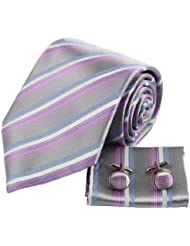 YAC2A03 Patr¨®n Dise?ador estilo del regalo de seda Corbata Gemelos pa?uelo Set 3PT por Y&G
