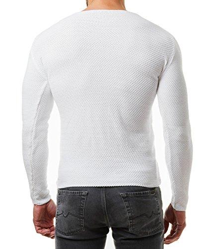 EightyFive Herren Strick-Pullover Feinstrick Schwarz Weiß Anthrazit Grau EF1402 Weiß
