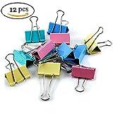 leisial 12PCS verschiedene Farben Office Organisieren Metall Binder Clips Foldback-Klammern 51mm zufällige Farbe