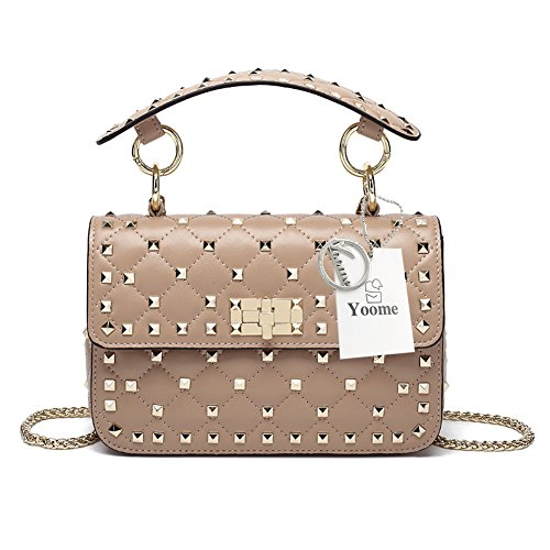 Leder-nieten-handtasche (Yoome Damen Handtasche/Handtasche aus echtem Leder, gesteppt, mit Nieten an der Oberseite)