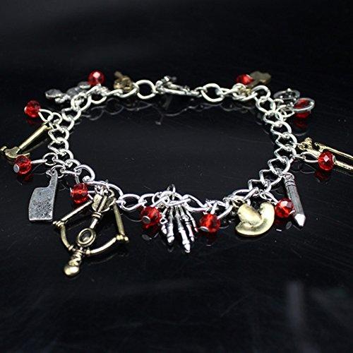 Man9Han1Qxi Coole Punk Multi Anhänger Axt Hammer Bogen Perle Charm Kette Armband für Frauen Armband für Männer und Frauen Silver