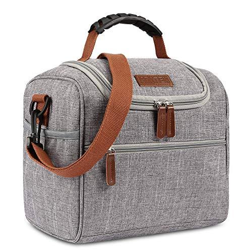 Thermotasche Kühltasche Kühl Lunch Box Isolierte Essen Tasche Picknicktasche Großer Tote Bag Imbissbeutel für Frauen, Männer, Erwachsene, Nylon Grau ()