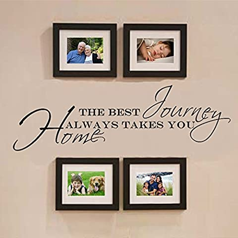 "Wandaufkleber, Vinyl, Motiv: Schriftzug ""The Best Journey Always Takes You Home"" - 16 x56 - custom"