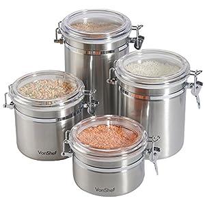 VonShef-Clip Top Gläser 4Teile Kaffee Tee Behälter Vorratsdosen aus Edelstahl Set