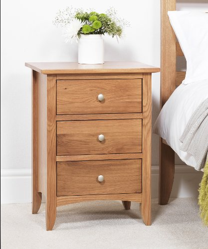 Edward Hopper oak bedside table (3 drawer), ASSEMBLED bedside cabinet, easy glide metal runners