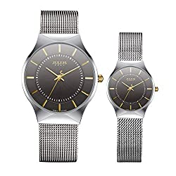 JULIUS JA-577C Ultra Thin Silver and Black Couple Watch Quartz Analog Mesh Stainless Steel Wristwatch