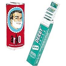 Derby Kit de Rasage 100 Lames de Rasoir Extra à Double Tranchant + Stick de Savon à Barbe