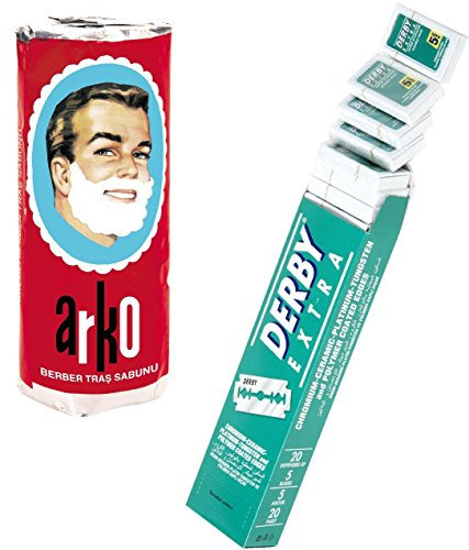 Shaving Factory Derby Extra Double Edge Razor Blades and Free Arko Shaving Cream Soap Stick, 1er Pack (1 x 1 Stück) (Shaving Razor Fusion)