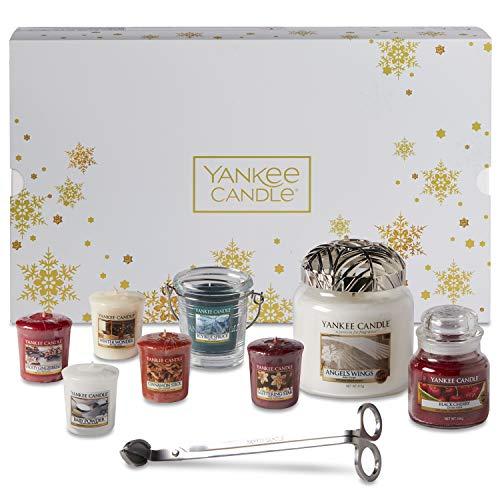Yankee Candle Confezione Regalo Natalizia con Candele Profumate e Accessori Angels Wings Bianco/Oro 11 Pezzi