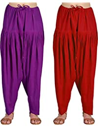 Crafts 100% Pure Solid Cotton Semi Patiala Salwar Bottoms Indoor Outdoor For Women's & Girls( Free Size , Color... - B0762KD4LM