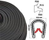 KS1-4S/ W/ HG Kantenschutz PVC Gummi Klemmprofil mit Stahleinlage - Klemmbereich 1-4mm (20 m, schwarz)