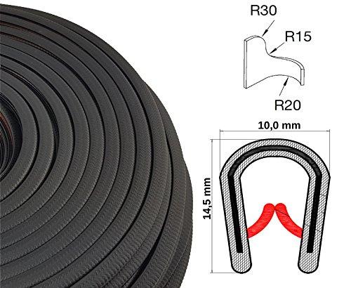 KS1-4S/ W/ HG Kantenschutz PVC Gummi Klemmprofil mit Stahleinlage - Klemmbereich 1-4mm (30 m, schwarz)