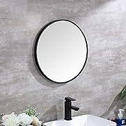 Circular Wall Mirror No Drilling, Modern Round Metal Framed Hanging Silver Glass Black Vanity Shaving Mirror D