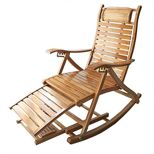 Reclining Liegestühle Schaukelsessel, Patio Massivholz Bambus Breite 4,5 Cm Lounge Chair Komfortable Gebogene Rückenlehne Perfekt Outdoor Indoor Garden Sonnenliege (Color : B) | Wohnzimmer > Sessel > Schaukelsessel | Liegestuhl