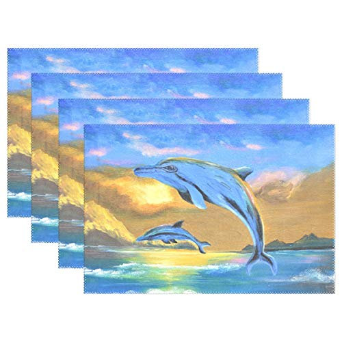 GOODSTHING Tischset, Dolphin The Sea Oil Painting Placemat Table Mat 12