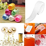#10: Party Propz™ 100 Glue Dot + 6 Pieces Multi color Ribbon / Sticky Dots Permanent Adhesive Balloon Glue for Balloon / Balloon Glue Dots / Party Decoration Materials for Baby Shower, Happy Birthday Party, Bachelorette, Wedding Party / balloon curling Ribbon for Decoration Set Of 6 / Ribbons for Balloons / Ribbons for Gift Wrapping / Ribbons for Crafts