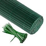 Jarolift PVC Sichtschutzzaun, Sichtschutz-Matte 90 x 600cm (2 x 3m Länge), grün inkl. 100 Kabelbinder, grün