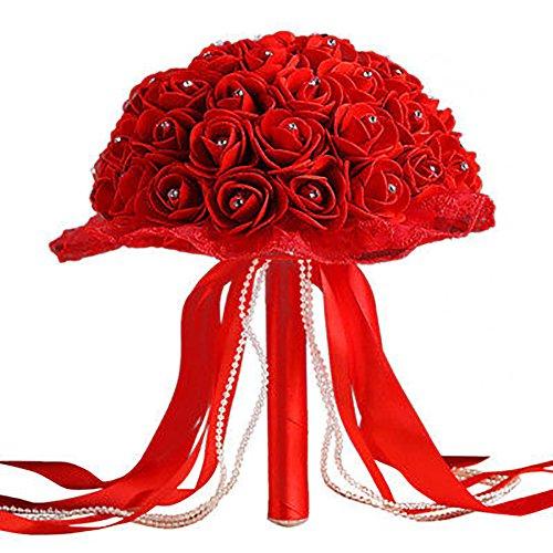 Homeofying Brautjungfer Brautjungfer Hochzeit Blumenstrauß künstliche Rosen Blumen Requisiten, 1, rot