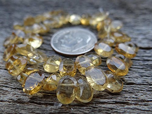 Golden Yellow Citrine | Fancy Cut Convex Pavillion Faceted Beads | 6x5-8x6mm | Sets of 8