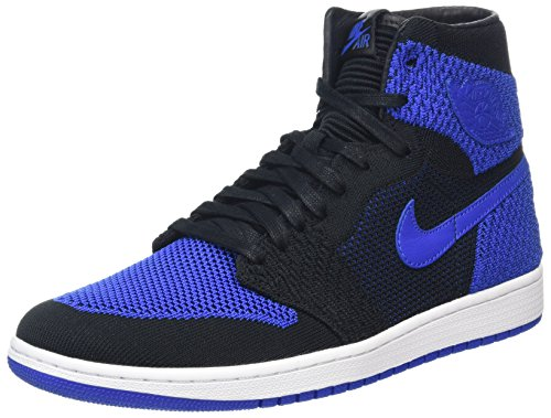 Nike Herren Air Jordan 1 Retro Hi Flyknit Basketballschuhe, Schwarz (Black Game Royalwhite), 45 EU