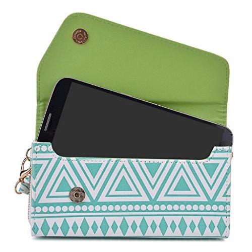 Kroo d'embrayage avec dragonne Portefeuille 16cm Smartphones et phablettes pour Blu Studio X Plus/Dash 5,5/Studio 5,5S Multicolore - Brun Multicolore - White with Mint Blue