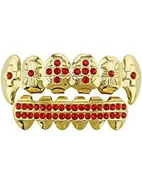 Rhinestone Colorido Chapado en Oro Hip Hop Dientes Parrillas - Excelente Corte para Todo Tipo de Dientes - Juego de Parrillas Superior e Inferior - Hip Hop Bling (Color : Rojo)