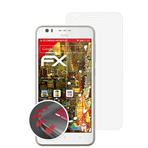 atFolix Schutzfolie passend für HTC Desire 10 Lifestyle Folie, entspiegelnde & Flexible FX Bildschirmschutzfolie (3X)